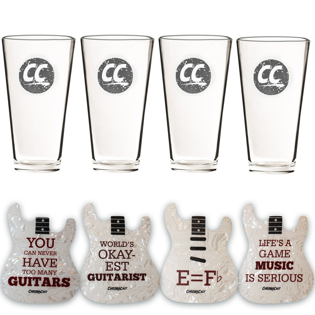 ChromaCast Stamped Logo Pub Beer Glass, 16.5-Ounce, Set of 4 with  ChromaCast Coaster 4 Pack