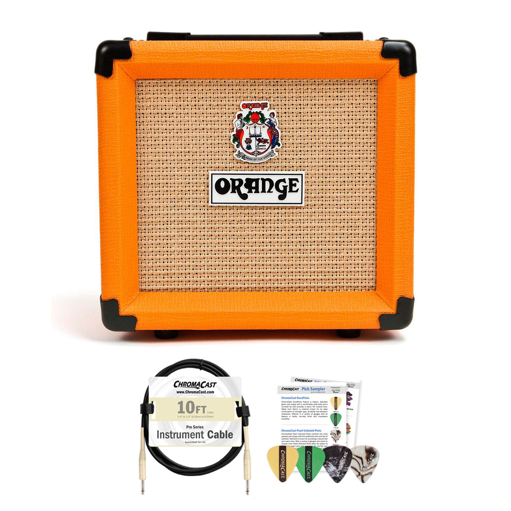 "Orange PPC108 1x8"" Speaker Enclosure with ChromaCast 10ft Pro Series Cable & 4 Pick Sampler"