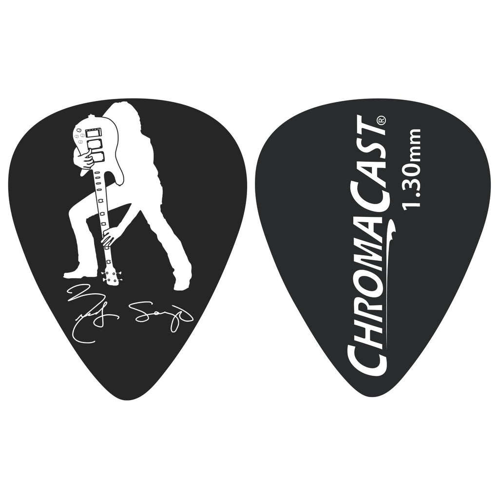 Chromacast Rudy Sarzo Signature 1.30MM Delrin Dura Pick 10 Pack, Black