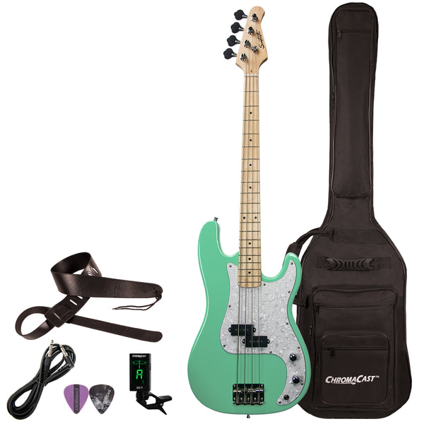 Sawtooth EP Series Electric Bass Guitar with Gig Bag & Accessories, Surf Green w/ Pearl Pickguard