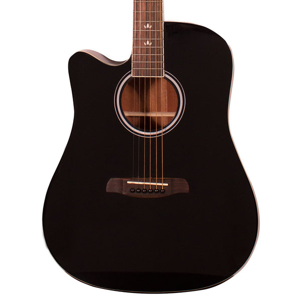 Sawtooth Left-Handed Acoustic-Electric Dreadnought Cutaway, Black