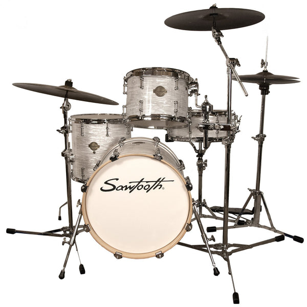 "Sawtooth Command Series 4-Piece Drum Shell Pack with 18"" Bass Drum, White Oyster"