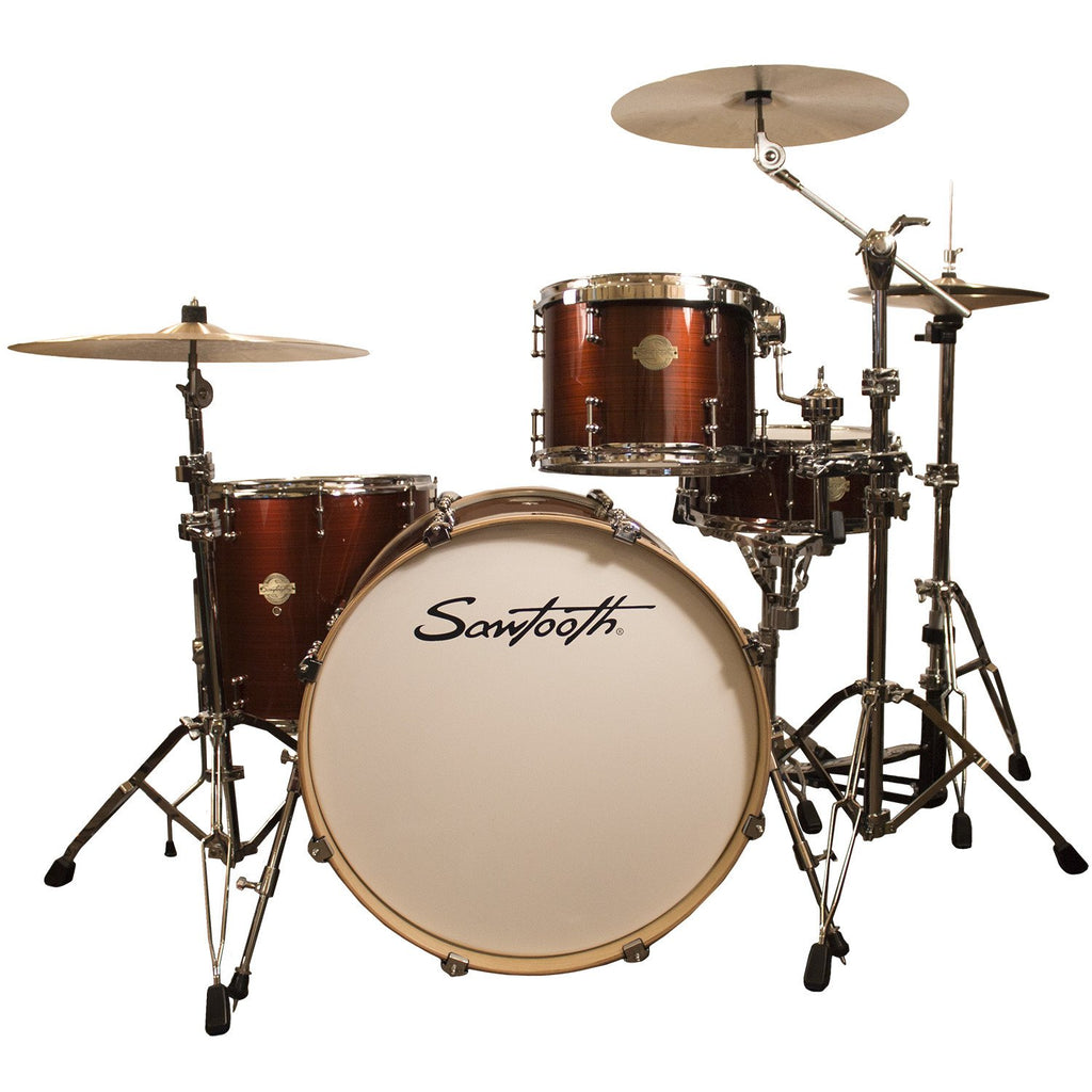 "Sawtooth Command Series 4-Piece Drum Shell Pack with 24"" Bass Drum, Red Streak"