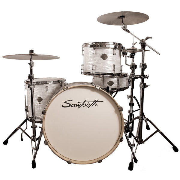 "Sawtooth Command Series 4-Piece Drum Shell Pack with 24"" Bass Drum, White Oyster"