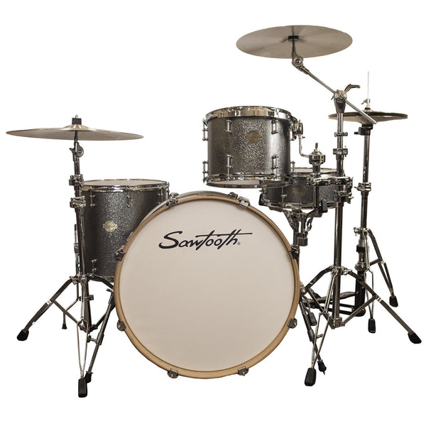 "Sawtooth Command Series 4-Piece Drum Shell Pack with 24"" Bass Drum, Silver Sparkle"