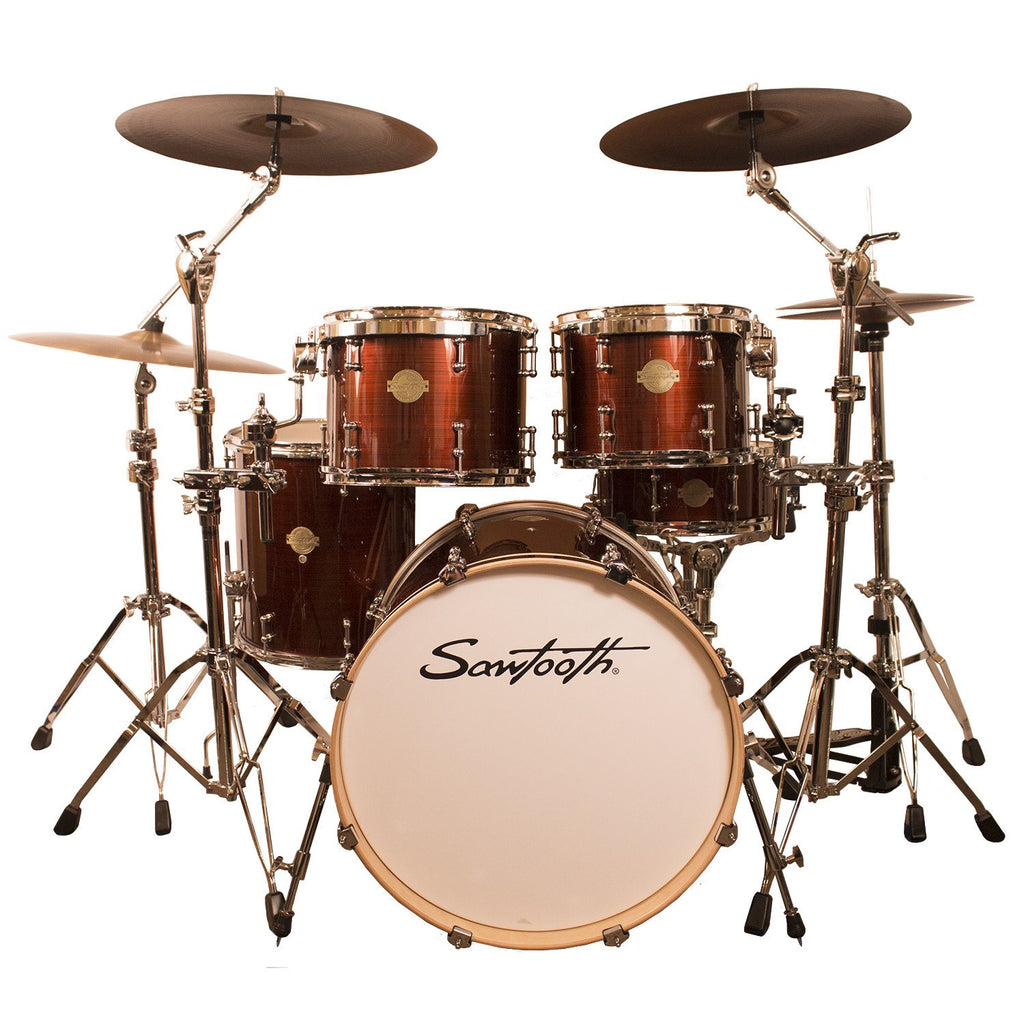 "Sawtooth Command Series 5-Piece Drum Shell Pack with 22"" Bass Drum, Red Streak"