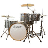 "Sawtooth Command Series 6-Piece Drum Set with 24"" Bass Drum, ChromaCast Hardware & Zildjian S Family Cymbals, Silver Sparkle"