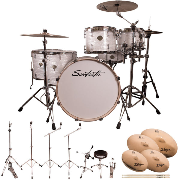 "Sawtooth Command Series 6-Piece Drum Set with 24"" Bass Drum, ChromaCast Hardware & Zildjian S Family Cymbals, White Oyster"