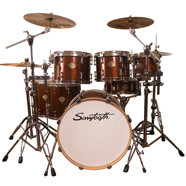 "Sawtooth Command Series 7-Piece Drum Shell Pack with 22"" Bass Drum, Red Streak"