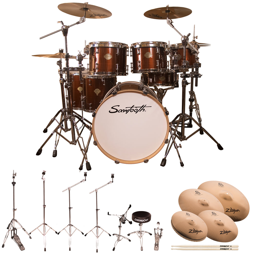 "Sawtooth Command Series 7-Piece Drum Shell Pack with 22"" Bass Drum, ChromaCast Hardware & Zildjian S Family Cymbals, Red Streak"