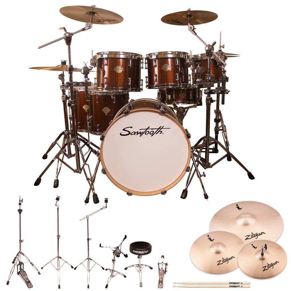 "Sawtooth Command Series 7-Piece Drum Shell Pack with 22"" Bass Drum, ChromaCast Hardware & Zildjian ZBT Cymbals, Red Streak"