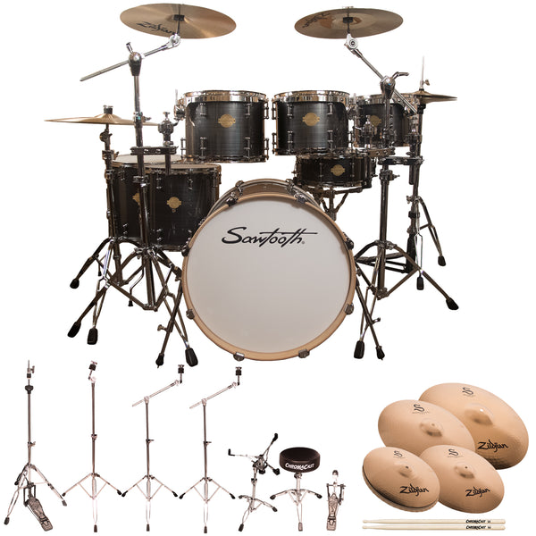 "Sawtooth Command Series 7-Piece Drum Shell Pack with 22"" Bass Drum, ChromaCast Hardware & Zildjian S Family Cymbals, Silver Streak"