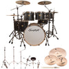 "Sawtooth Command Series 7-Piece Drum Shell Pack with 22"" Bass Drum, ChromaCast Hardware & Zildjian ZBT Cymbals, Silver Streak"