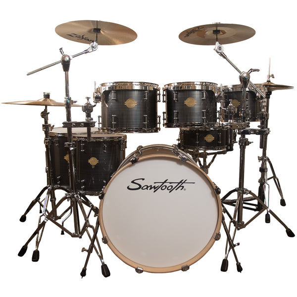 "Sawtooth Command Series 7-Piece Drum Shell Pack with 22"" Bass Drum, Silver Streak"