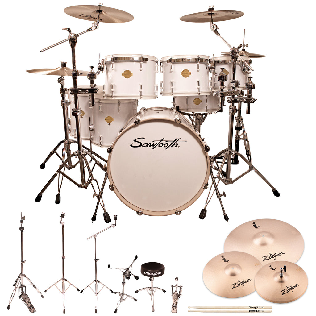 "Sawtooth Command Series 7-Piece Drum Shell Pack with 22"" Bass Drum, ChromaCast Hardware & Zildjian ZBT Cymbals, White"