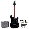 Sawtooth Black ES Series Electric Guitar w/ Black Pickguard - Includes: Accessories & 10-Watt Amp