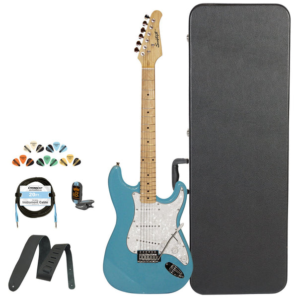 Sawtooth Classic ES 60 Series Alder Body Electric Guitar - Classic Aero Blue with Pearl 3-Ply Pickguard, ChromaCast Hard Case & Accessories