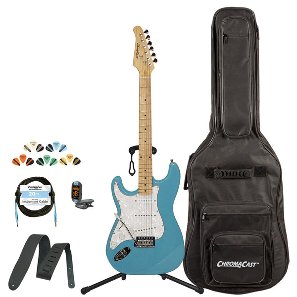Sawtooth Left-Handed Classic ES 60 Series Alder Body Electric Guitar - Classic Aero Blue with Pearl 3-Ply Pickguard, with ChromaCast Gig Bag & Accessories