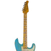 Sawtooth Americana Relic Series ES Electric Guitar with Pro Series Strat/Tele Body Style Hard Case, Classic Aero Blue with Aged Mint Green Pickguard