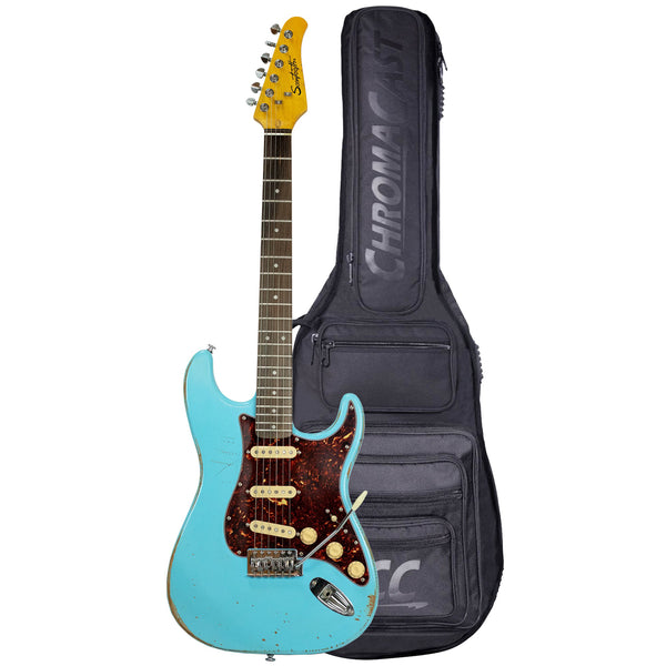Sawtooth ES Relic Electric Guitar, Aero Blue with Tortoise Pickguard, With Pro Series Gig Bag - GoDpsMusic
