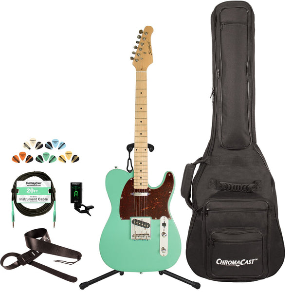 Sawtooth Classic ET 50 Ash Body Electric Guitar, Surf Green w/ Tortoise Pickguard, with ChromaCast Gig Bag & Accessories