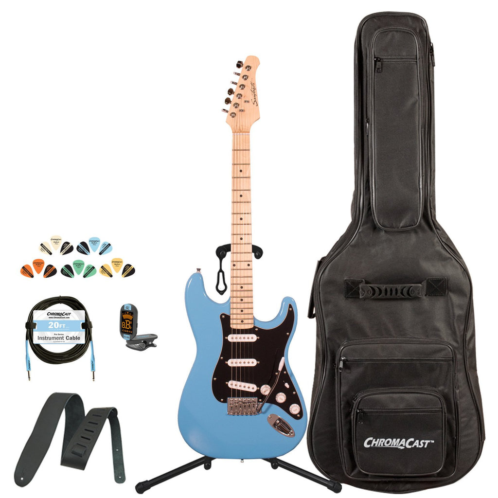 Sawtooth Classic ES 60 Series Alder Body Electric Guitar - Classic Aero Blue with Black 3-Ply Pickguard, ChromaCast Gig Bag & Accessories