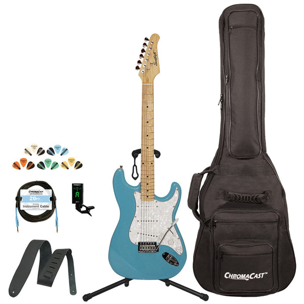 Sawtooth Classic ES 60 Series Alder Body Electric Guitar - Classic Aero Blue with Pearl 3-Ply Pickguard, ChromaCast Gig Bag & Accessories