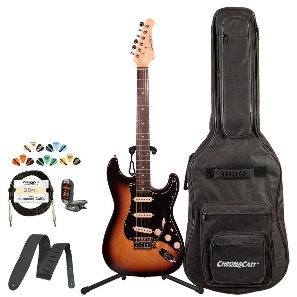 Sawtooth Classic ES 60 Series Alder Body Electric Guitar - Sunburst with Black 3-Ply Pickguard, ChromaCast Gig Bag & Accessories