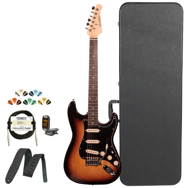 Sawtooth Classic ES 60 Series Alder Body Electric Guitar - Sunburst with Black 3-Ply Pickguard, ChromaCast Hard Case & Accessories