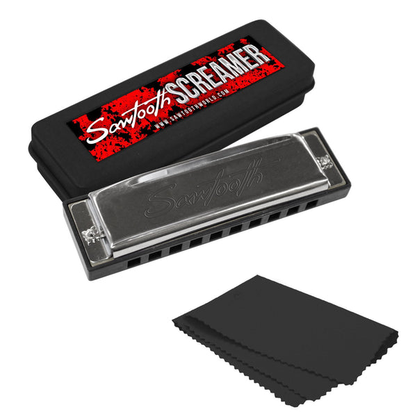 Sawtooth Screamer Chrome Plated Harmonica, Key of G with Case and Cloth