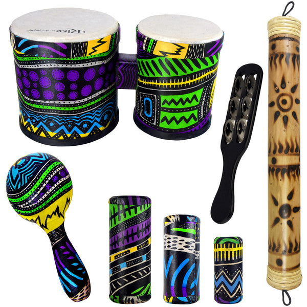 Rise by Sawtooth Jamaican Me Crazy Percussion Set with Bongos & Rain Stick