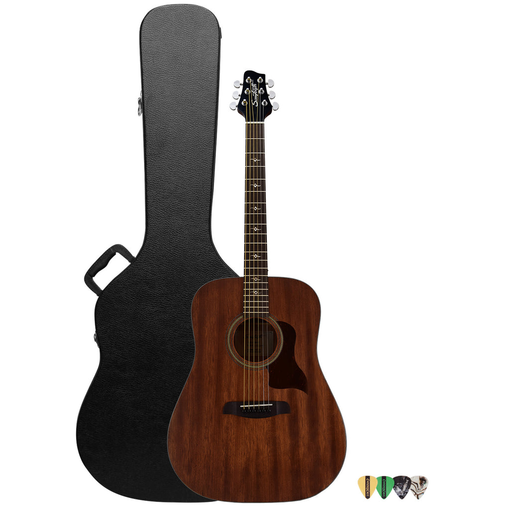 Sawtooth Mahogany Series Dreadnought Acoustic Electric Guitar with ChromaCast Hard Case & Pick Sampler