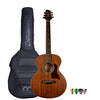 Sawtooth Mahogany Series Mini Jumbo Acoustic Electric Guitar with ChromaCast Gig Bag & Pick Sampler