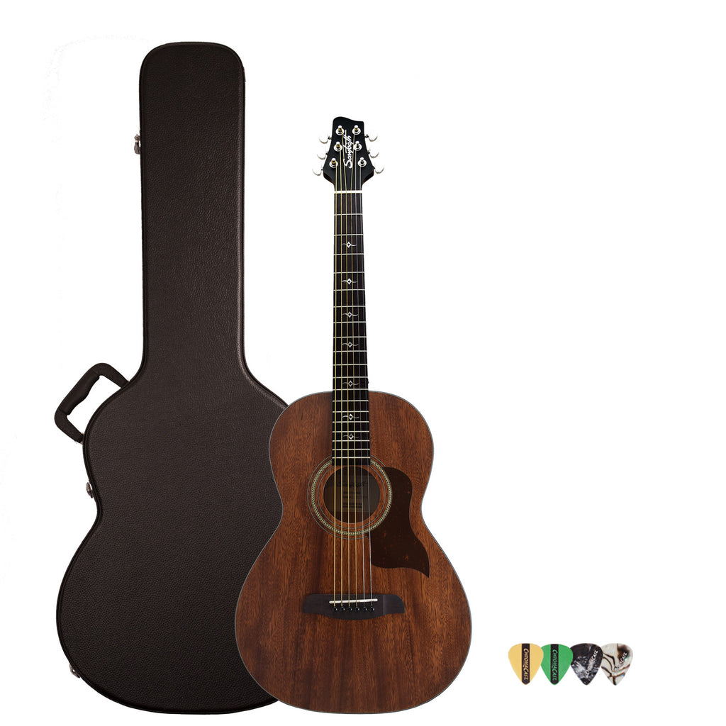 Sawtooth Mahogany Series Parlor Acoustic Electric Guitar with ChromaCast Gig Bag & Pick Sampler