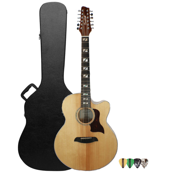 Sawtooth Solid Spruce Top Jumbo Cutaway 12 String Acoustic Electric Guitar with ChromaCast Hard Case & Pick Sampler