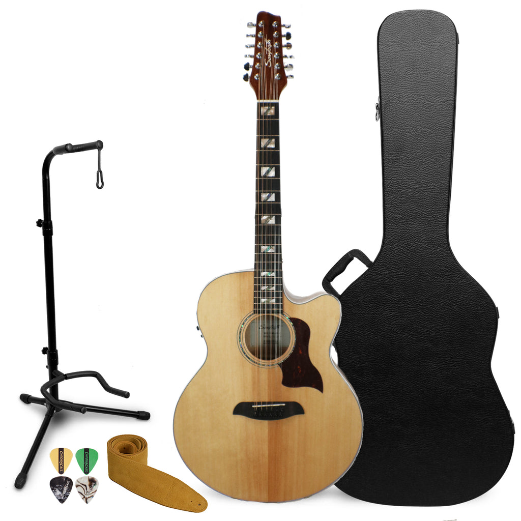 Sawtooth Solid Spruce Top Jumbo Cutaway 12 String Acoustic Electric Guitar with ChromaCast Hard Case & Accessories
