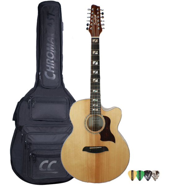 Sawtooth Solid Spruce Top Jumbo Cutaway 12 String Acoustic Electric Guitar with Padded Gig Bag & Pick Sampler