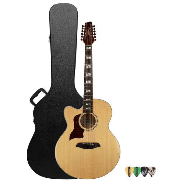 Sawtooth Solid Spruce Top Left-Handed Jumbo Cutaway 12 String Acoustic Electric Guitar with ChromaCast Hard Case & Pick Sampler