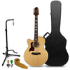 Sawtooth Solid Spruce Top Left-Handed Jumbo Cutaway 12 String Acoustic Electric Guitar with ChromaCast Hard Case & Accessories