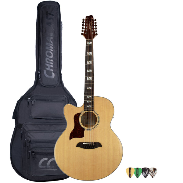 Sawtooth Solid Spruce Top Left-handed Jumbo Cutaway 12 String Acoustic Electric Guitar with Padded Gig Bag & Pick Sampler
