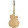 Sawtooth Solid Spruce Top Left-Handed Jumbo Cutaway 12 String Acoustic Electric Guitar with Flame Maple Back and Sides