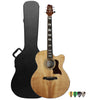 Sawtooth Solid Spruce Top Jumbo Cutaway 6 String Acoustic Electric Guitar with ChromaCast Hard Case & Pick Sampler