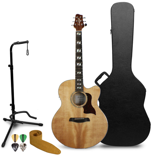 Sawtooth Solid Spruce Top Jumbo Cutaway 6 String Acoustic Electric Guitar with ChromaCast Hard Case & Accessories