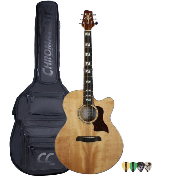 Sawtooth Solid Spruce Top Jumbo Cutaway 6 String Acoustic Electric Guitar with ChromaCast Padded Gig Bag & Pick Sampler
