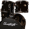 Rise by Sawtooth Full Size Student Drum Set with Hardware and Beginner Cymbals, Pitch Black