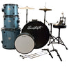 Rise by Sawtooth Full Size Student Drum Set with Hardware and Beginner Cymbals, Storm Blue Sparkle