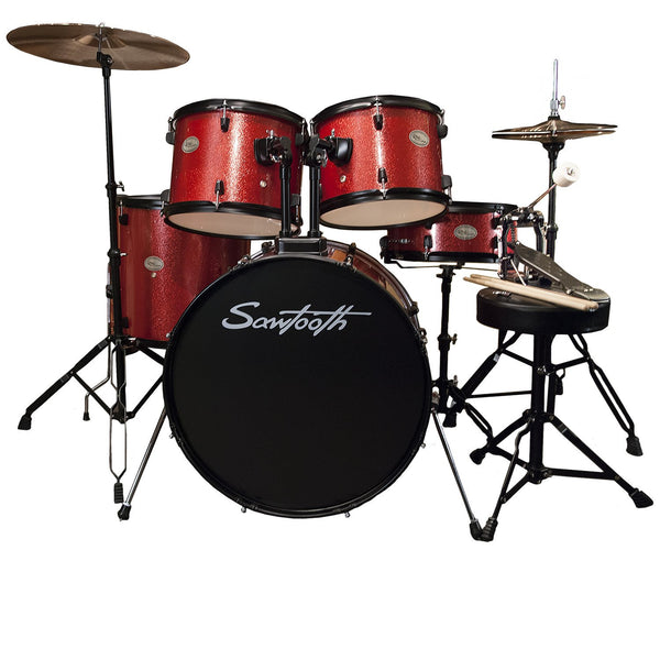 Rise by Sawtooth Full Size Student Drum Set with Hardware and Beginner Cymbals, Crimson Red Sparkle