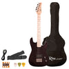 Rise by Sawtooth Right Handed 3/4 Size Beginner Electric Guitar with Accessories, Trans Black
