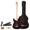 Rise by Sawtooth Left Handed 3/4 Size Electric Guitar with Accessories, Black