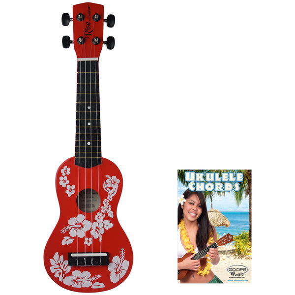 Rise by Sawtooth Beginner's Ukulele, Hibiscus Red